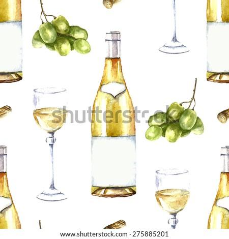 Watercolor wine seamless pattern. - stock photo