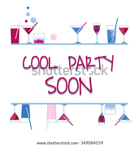 watercolor wineglass and cocktail glass cool party invintation on white background for paper textile fabric scrapbooking design - stock photo