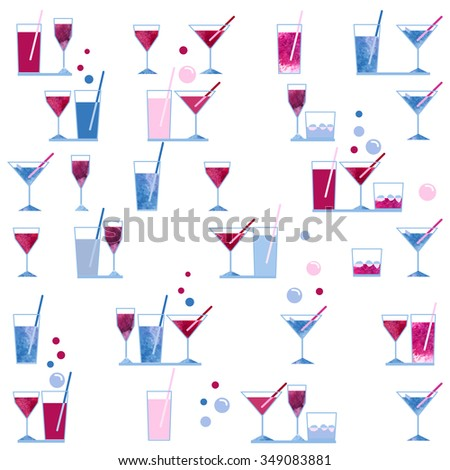 watercolor wineglass and cocktail glass seamless pattern on white background for paper textile fabric scrapbooking design - stock photo
