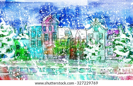 watercolor winter city near the water