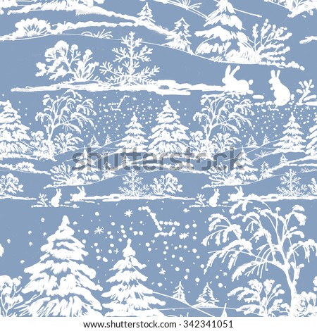 Watercolor winter Coniferous forest landscape with rabbits, seamless pattern on blue background - stock photo