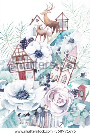 Watercolor winter fairytale illustration. Hand painted bouquet with old houses, deers, anemone flowers, succulent, roses, berries, stars and leaves. Vintage style fantasy artwork  - stock photo