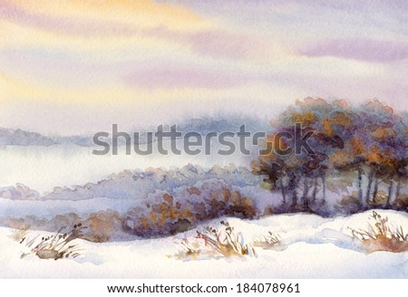 Watercolor winter landscape. Snow-covered valley and trees on the hill