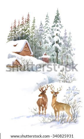 Watercolor winter landscape with deers - stock photo