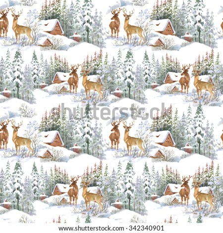 Watercolor winter landscape with deers, seamless pattern - stock photo