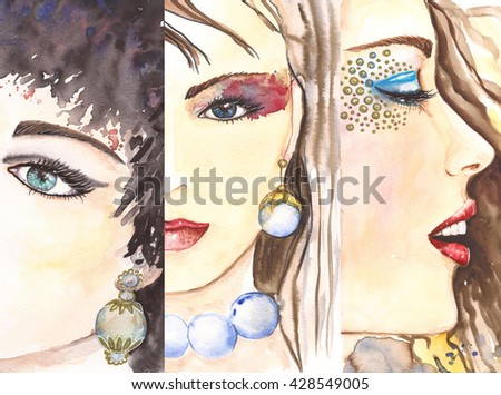 Watercolor. Woman portrait. Beauty concept. Pearl necklace and golden eyeshadow. Pearl earrings.