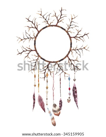 Watercolor wood branches tribal dreamcatcher. Hand painted tree branches dreamcatcher with beads, aztec suspension and various bird feathers. Boho chic illustration isolated on white background