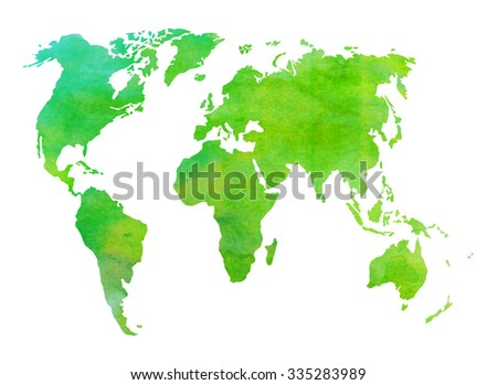 Watercolor world map of green shades. Painted background. - stock photo
