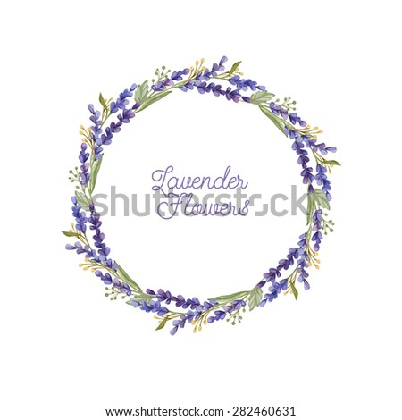 Watercolor wreath of lavender flowers. Flower composition. Hand drawn Lavender wreath  - stock photo