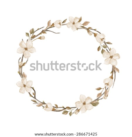 Watercolor wreath with flowers, leaves and branches. Hand drawn illustration with  blossoming branches isolated on white background. Watercolor illustration in retro style - stock photo