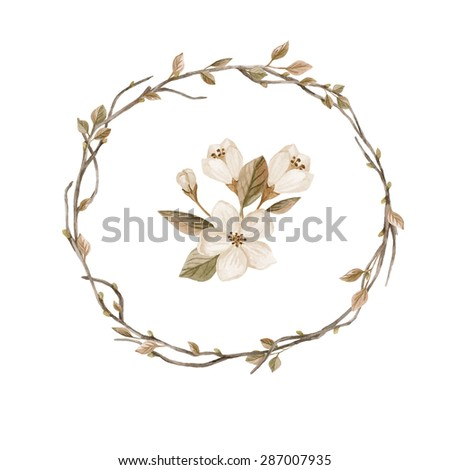 Watercolor wreath with leaves and branches. Hand drawn illustration with tree branches isolated on white background. Watercolor illustration in retro style - stock photo