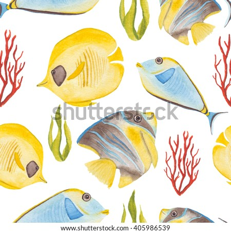 Watercolor Yellow And Blue Tropical Fish Seamless Pattern - stock photo
