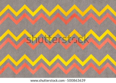 Watercolor yellow, salmon pink and gray stripes background, chevron.