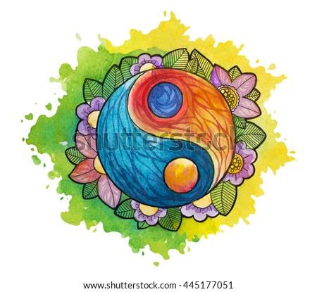 Watercolor yin yang simbol. Watercolor tattoo. - stock photo