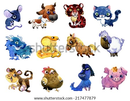 Watercolor zodiac animals set - stock photo