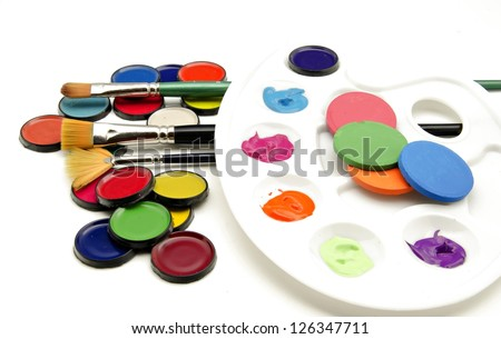 Watercolors and brushes - stock photo