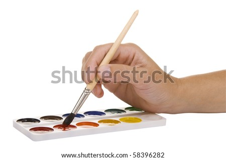 watercolors and hand with a paintbrush on a white background