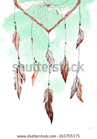 Watercolors, Drawings, Dreamcatcher, heart, feathers