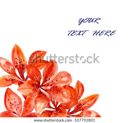 watercolors flowers to lilies on white for text - stock photo
