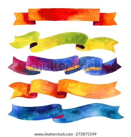 Watercolors ribbons and banners for text. Collection of Watercolor design elements,  ribbons. Hand drawn abstract colorful stripes. - stock photo