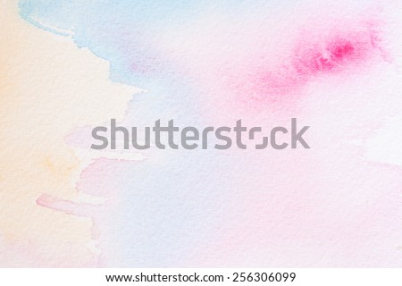 watercolors - serenity and rose quartz pastel tones - stock photo