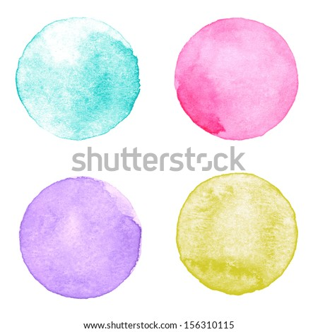 Watercolour circles collection. Watercolor stains set isolated on white background. Watercolor palette of aquamarine, pink, purple and yellow ocher paint - stock photo
