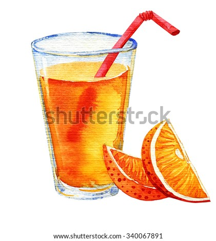 Watercolour illustration of orange juice with orange slices and red straw.  Illustration for cooking site, menus and food designs. Isolated on white background. - stock photo