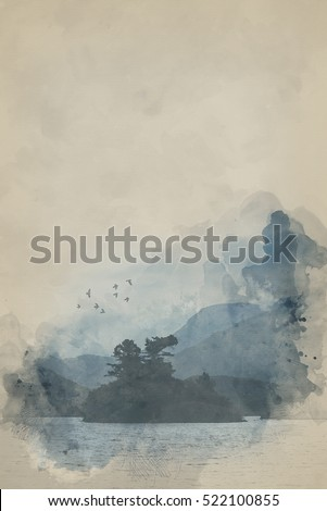 Watercolour image of Misty morning landscape over still lake with mountain range in background