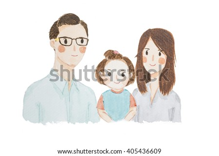 Watercolour painting happy family portrait cute cartoon isolate on white background.  - stock photo