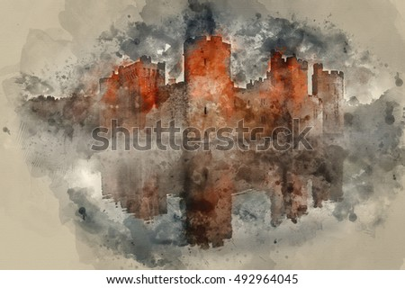 Watercolour painting image of Beautiful medieval castle and moat at sunrise with mist over moat and sunlight behind castle