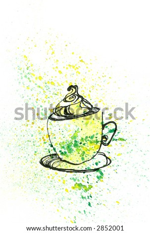 Watercolour painting of Coffee Mug with Milk Foam