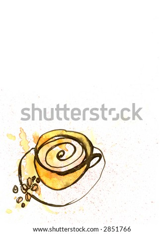 Watercolour painting of Coffee Mug with Milk Foam and Coffee Beans