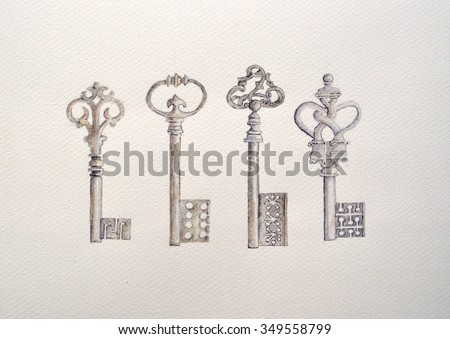 Watercolour painting of four antique keys on white