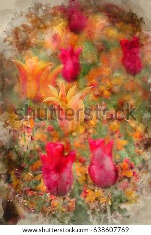Watercolour painting of Stunning shallow depth of field landscape image of flowerbed full of tulips in Spring