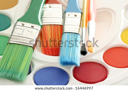 watercolour paints and lots of brushes - art and craft