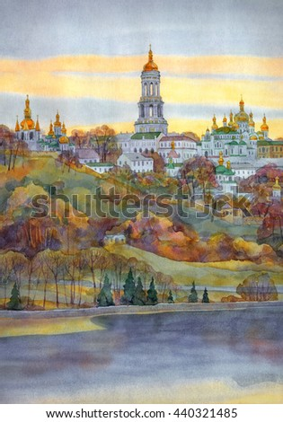 Watercolour scene. Famous old medieval edifices of Kyiv-Pechersk Lavra: bell tower, temple, refectory and monastic cells, surrounded by high wall on steep bank of Dnieper in bright autumnal twilight - stock photo