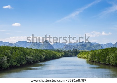 Watercourse with mountains behind , Next to a mangrove forest on the left and right. - stock photo