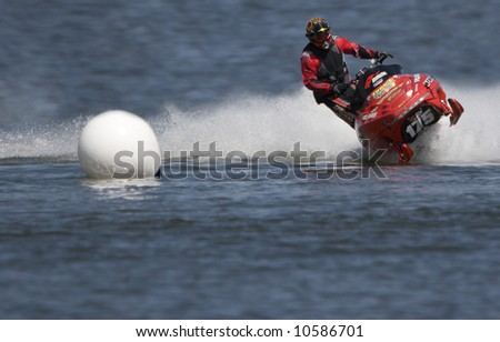 Watercross Race - Snowmobile on Water - stock photo