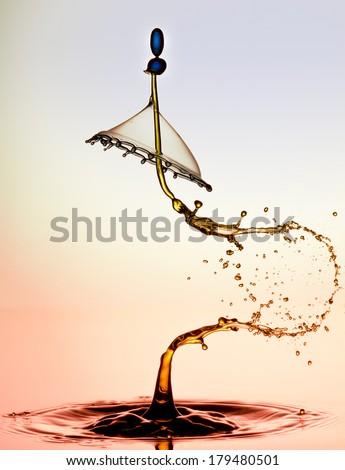 waterdrop collision photo's  - stock photo