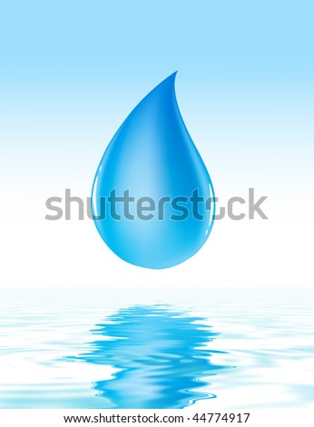 waterdrop reflection in water - stock photo