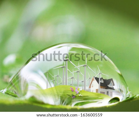 waterdrop reflection on the green leaf  - stock photo