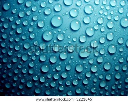 waterdrops on blue 2 - stock photo