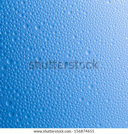 waterdrops on blue gradient background