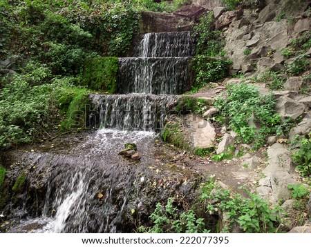 Waterfall. - stock photo