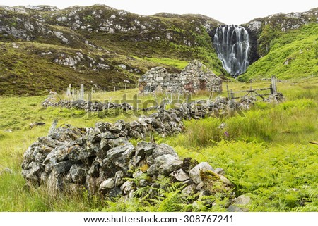 Waterfall, ABHAIN CLAIS AN EAS, Scotland. - stock photo