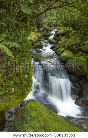 Waterfall among green mossy rocks