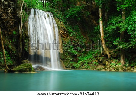Waterfall and blue stream in the forest Thailand - stock photo