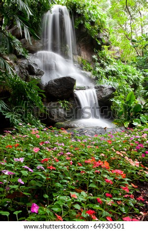 Waterfall and Garden in Assumption University, Thailand - stock photo