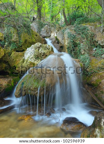 Waterfall and green forest. Fresh spring composition