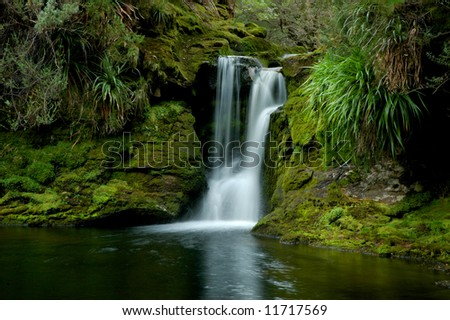Waterfall and green vegetation on Overland Track, Tasmania, Australia - stock photo